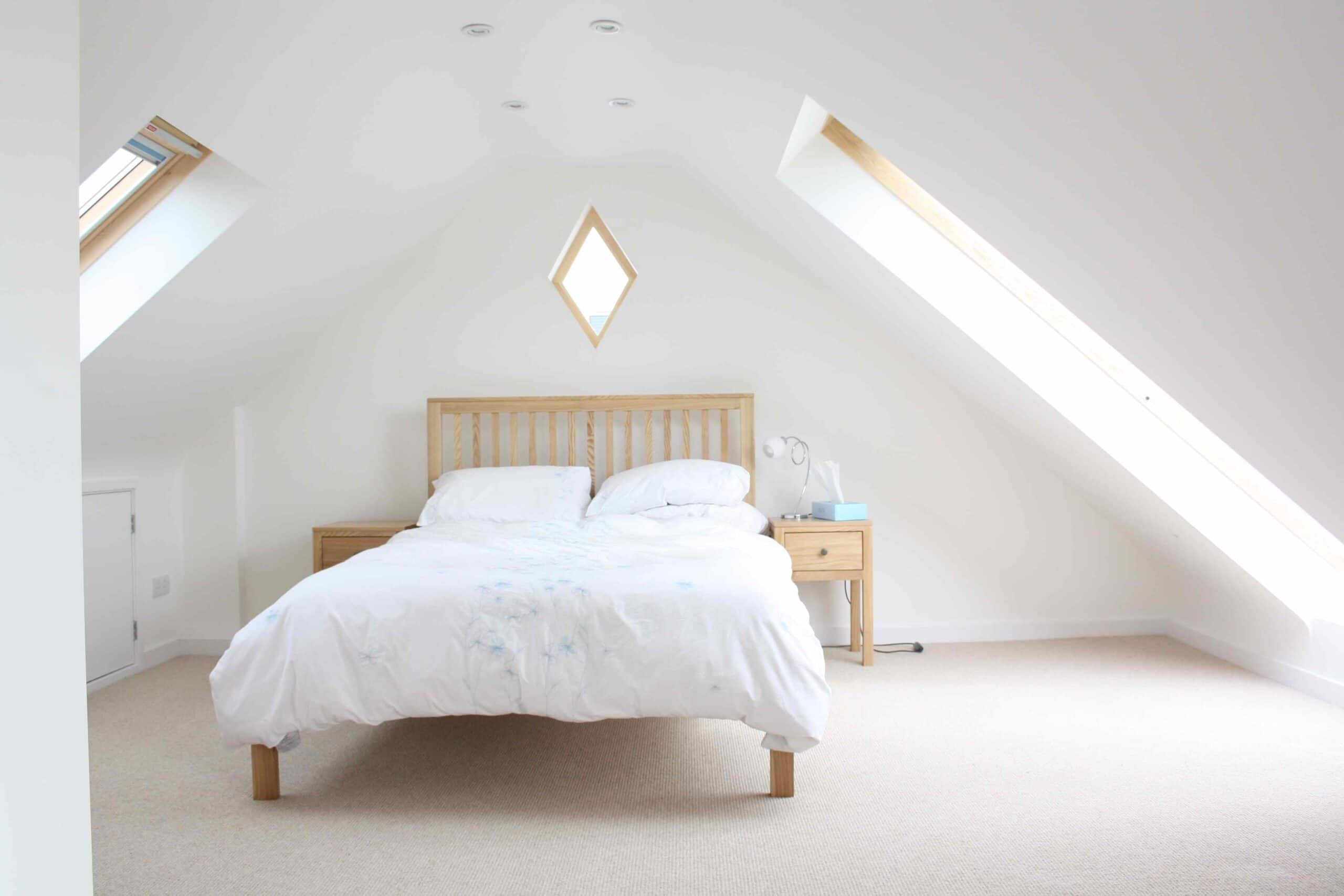 attic bedroom wardrobe ideas - Inside a London Loft Conversion Interior Design Colours